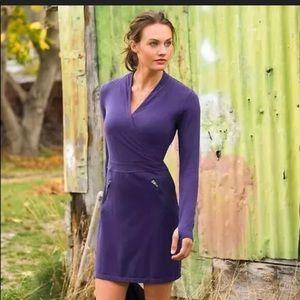 Athleta Suedy Lady Ling Sleeve Dress Purple L